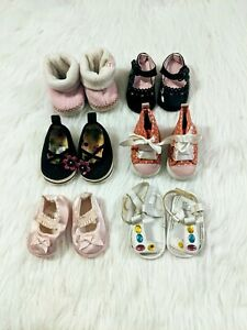 Lot Of 6 Baby Girl Shoes Newborn