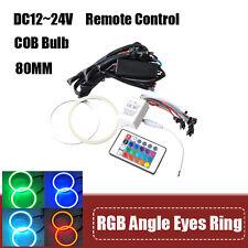 2X 80mm RGB LED COB Flashing Angel Eye Halo Ring Bulb Remote Kit Multi color