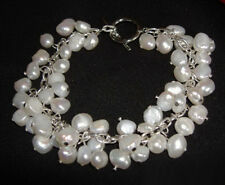 Genuine White Pearl Beads 18KWGP Link Clasp Bangle Bracelet