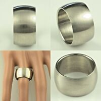 12mm Stainless Steel Mens & Womens Wedding Band - D Shaped Ring Sizes K to Z+1