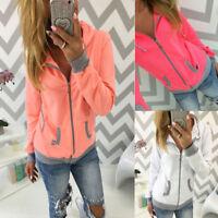 Ladies Fleece Zip Up Hoodie Comfy Hooded Sweatshirt Jumper Jacket Plus Size Coat