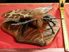 Garden Moth Art Sculpture Wood Handmade Palm Black Ebony