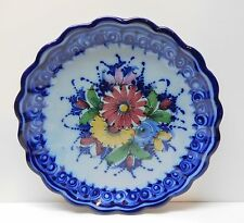 Blue Portuguese Pottery Charger Plate Wall Hanging Pal Alcobaca Portugal 12""