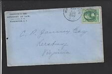 WASHINGTON,DISTRICT OF COLUMBIA,1882 3CT BANKNOTE COVER, FANCY  1 IN RINGS CL.