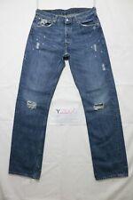 Levi's 501 strappato usato (Cod.Y2005) W33 L34 denim jeans dritto grado A