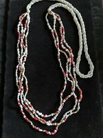 Vintage Glass Seed Bead White Red Twist Multi Strand Necklace 40 inches