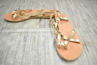 **Ancient Greek Sandals Metallic Leather Strappy Sandals, Women's Size 9, Gold
