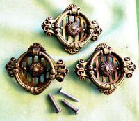 3-Antique Brass Art Deco Dresser Pulls Cabinet Handles 2 3/4'' x 2 1/4''