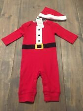 NWT Carter's Baby Unisex 2 Pc Santa Coverall Long Sleeve Pants & Hat Set Sz:3mon