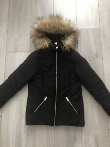 New Look 10-11 Years Black Puffa Coat Jacket VGC Girls Zip Up