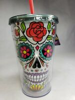 White Sugar Skull Travel Cup Day Of The Dead Cool Gear Insulated BPA Free 18 Oz