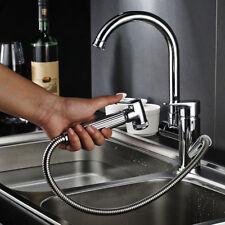 360° Swivel Kitchen Sink Mixer Taps Chrome Pull Out Spray Bidet Head Tap Silver