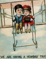 Circa 1910 Lovely Cute Couple In Old Wright Brothers Style Plane Postcard P3