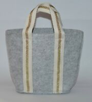 NEW BATH & BODY WORKS GRAY FELT TOTE GIFT BAG HANDBAG CUTE GOLD STRAP PURSE