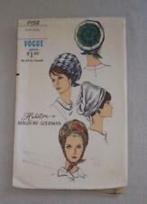 Vintage Womens Sewing Pattern Hat 60's Vogue 7152 Halston