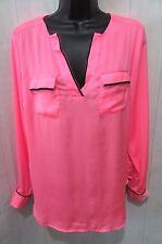 NEW YORK & CO Neon Pink Black Trim Poly Satin V-Neck LS Tunic Blouse Size M