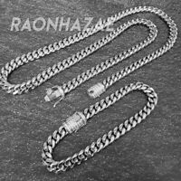 "Stainless Steel Silver 8mm 18"",20"",24"" Miami Cuban Link Diamond Chain Necklace"