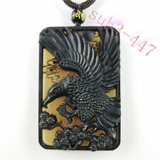 Collectibles Hand Carving Ox Horn Mens Pendant Necklace Lucky Eagle Amulet Hot