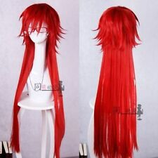 Fashion Styled Black Butler Grell Sutcliff Long Red Cosplay Wig With Glasses