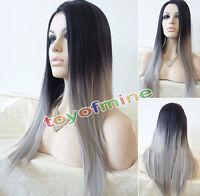 Señora Lolita Gradual Change Peluca Pelo Largo Recto Cosplay Full Wigs