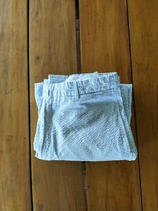 INCOTEX Cotton Seersucker Pants White Blue Stripe Size 38 Made in Portugal