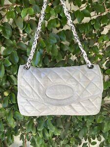 CHANEL Ivory Gray Small Flap Chain Crossbody Bag Purse
