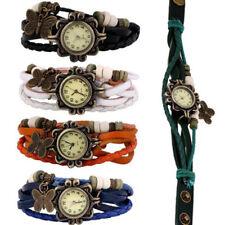 5PCs Retro Womens Girls Butterfly Bracelet Wristwatch Alloy Leather Analog Watch