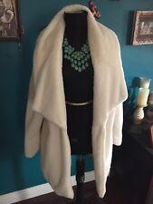 Fashion Nova Ivory Faux Fur Onetheland Coat M NWT