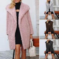 ZANZEA UK Womens Long Sleeve Turn Down Collar Fleece Coat Warm Outware Plus Size