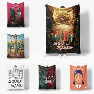 Squid Game Design Blanket Flannel Poster Printing Blanket Throws Kids Adults