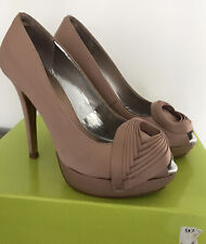 Ladies Nude Ted Baker Naidaa Satin Platform Court Shoes - Size 4 UK (37)