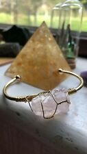 Raw rose quartz wire wrapped bangle bracelet