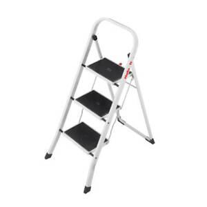 Hailo Klapptritt mit 3 Stufen aus Stahl Tritt Hocker kleine Leiter Weiß
