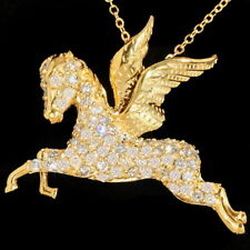 1Ct Natural Diamond 10K Yellow Gold Engagement Cocktail Necklace Pendant PWG93Y