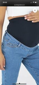 Missguided blue riot comfort stretch maternity jeans. Size Uk 8