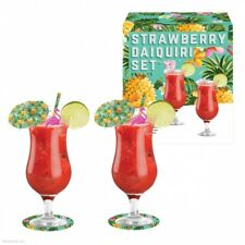Strawberry Daiquiri Cocktail Glasses Umbrella Straws Stirrer Coasters Gift Set