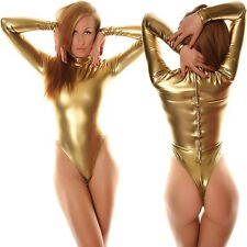 Metallic Gold Lycra Romper Zentai Catsuit Leotard Unitard Bodysuit White Zipper