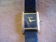VINTAGE CARTIER 18K GOLD ELECTROPLATED SWISS MADE TANK WATCH -BLACK DIAL WORKING