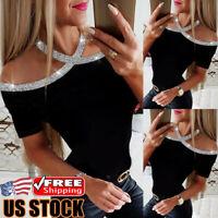 Women Halter Neck Short Sleeve T-Shirt Ladies Off Shoulder Sequins Blouse Tops