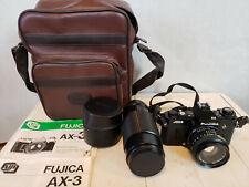 Fujica Ax-3 35mm Film Slr Camera 50 F1.9 Lens +Tokina 70-210 -Bag & More Tested