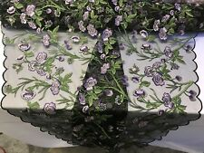 Lace Fabric Flower Mesh Embroidered By The Yard Bridal Veil Floral Multi-Color