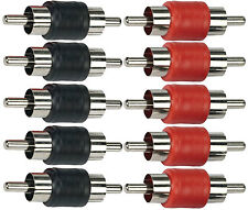Male to Male RCA Coupler Joiner barrel Pack of 10 5 RED + 5 BLK Free USA Ship