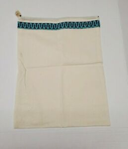 "Tory Burch Drawstring Dust Bag Ivory w Blue/Green/Purple Ribbon 15"" X 11.5"" NEW"