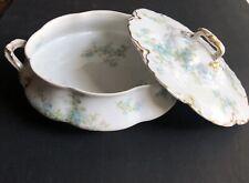 Vtg Haviland Limoges Double Gold Trim Schleiger 29N Casserole Dish Blue Flowers