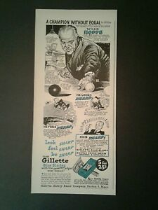 1947 Willie Hoppe Pocket Billiard~Oddball Sports~Pool Table Gillette Promo AD