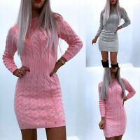 Womens Knitted Sweater Bodycon Mini Dress Ladies Long Sleeve Party Jumper Dress