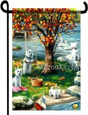 "Westie painting ""Autumn Comes Early"" Garden Flag West Highland Terrier Dog Art"