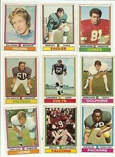 1974 Topps Football you pick commons 6 picks for $2.00 EX and better cond.
