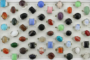 35pcs Wholesale Lots Mixed Color Big Natural Stone Jewelry Womens Silver P Rings
