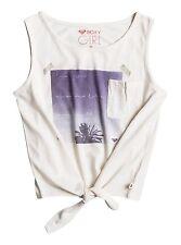 Roxy Girls Keys Boarder Sunrise Palm Knotted Marshmallow Tee Sz 10/M ERGZT03178